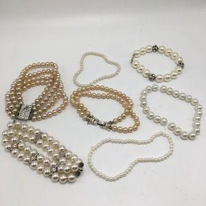 7 pearl bracelet bundle set white champagne